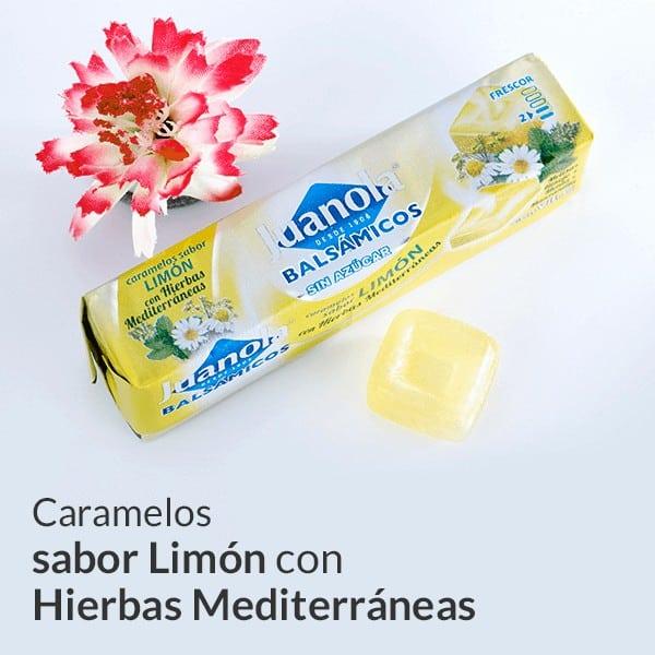 Caramelos sabor limón con hierbas mediterráneas